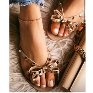Shoes - Nude Jelly Gold Studded Thong Sandals